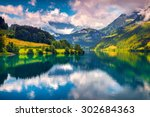 fantastic summer morning on... | Shutterstock . vector #302684363