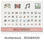 media hand drawing line icons.... | Shutterstock .eps vector #302684420