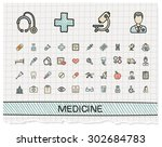 medical hand drawing line icons.... | Shutterstock .eps vector #302684783