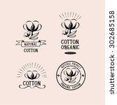 cotton badges design  organic...   Shutterstock .eps vector #302685158