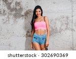 playful beauty. beautiful young ... | Shutterstock . vector #302690369