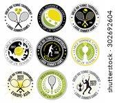 set of great tennis logos ... | Shutterstock .eps vector #302692604