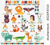 Big funny animal  set in bright colors made of wild and domestic animals with their names written beside them. Modern vector flat style. Ideal for cards, logo, labels and children room decoration