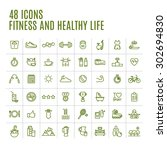 icons fitness and yoga | Shutterstock .eps vector #302694830
