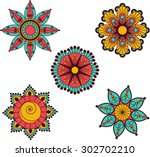 decorative flower motifs from... | Shutterstock .eps vector #302702210