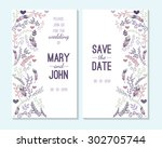 wedding invitation  thank you... | Shutterstock .eps vector #302705744