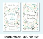 wedding invitation  thank you... | Shutterstock .eps vector #302705759