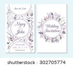 wedding invitation  thank you... | Shutterstock .eps vector #302705774