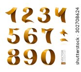 isolated shiny golden ribbon...   Shutterstock .eps vector #302708624