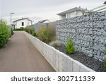 newly built gabions in the... | Shutterstock . vector #302711339