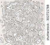 cartoon vector hand drawn... | Shutterstock .eps vector #302721788