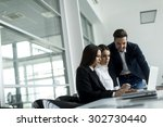 young people working in the... | Shutterstock . vector #302730440