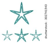 teal line star logo design set