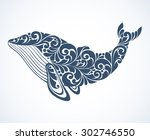 ornamental decorative whale... | Shutterstock .eps vector #302746550