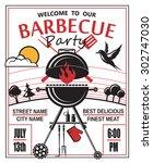 design of invitation card on... | Shutterstock .eps vector #302747030