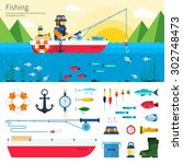 banner and icon set. fisherman... | Shutterstock .eps vector #302748473