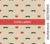 lips and mustaches seamless... | Shutterstock .eps vector #302750543
