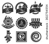 set of vintage retro coffee... | Shutterstock .eps vector #302754554