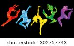 Silhouette Of Dancers  Colorfu...