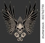 skull with wings and crossed... | Shutterstock .eps vector #302762750