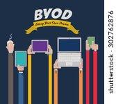 byod digital design  vector... | Shutterstock .eps vector #302762876