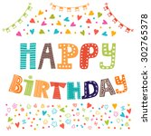 happy birthday. cute greeting... | Shutterstock .eps vector #302765378