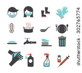 health and sanitation icons set ... | Shutterstock .eps vector #302765774