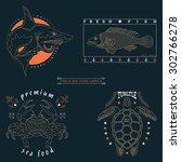 set of vintage thin line fish... | Shutterstock .eps vector #302766278