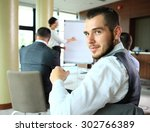 businessman with colleagues in... | Shutterstock . vector #302766389