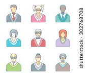 color outline various people in ... | Shutterstock . vector #302768708
