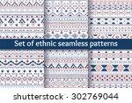 set of six tribal aztec... | Shutterstock .eps vector #302769044