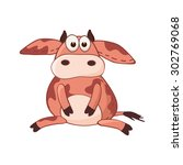 cartoon cow character. stuffed... | Shutterstock .eps vector #302769068