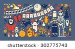 panoramic composition with... | Shutterstock .eps vector #302775743