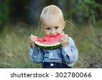 cute little boy eats big... | Shutterstock . vector #302780066