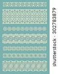 set of hand drawn lace paper ... | Shutterstock .eps vector #302783879
