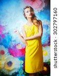 fashion shot of a beautiful... | Shutterstock . vector #302797160