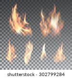 Set Of Realistic Fire Flames O...