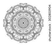 vector beautiful deco mandala.... | Shutterstock .eps vector #302803904