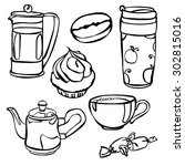 cute hand drawn coffee pattern  ... | Shutterstock .eps vector #302815016