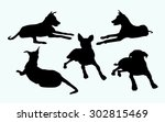 Stock vector sitting dogs silhouette set 302815469