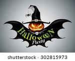 Stock vector halloween party drawn halloween symbols pumpkin logo design vector illustration 302815973