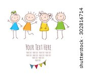 background with children and... | Shutterstock .eps vector #302816714