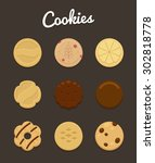 set of nine cookies of... | Shutterstock .eps vector #302818778