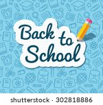back to school words banner on... | Shutterstock .eps vector #302818886