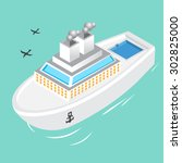yacht at sea | Shutterstock .eps vector #302825000