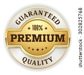 gold premium quality badge on... | Shutterstock .eps vector #302825768