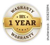 gold 1 year warranty badge on... | Shutterstock .eps vector #302825894