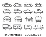 car line icons | Shutterstock . vector #302826716