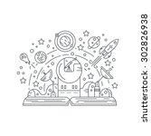imagination concept   open book ...   Shutterstock .eps vector #302826938