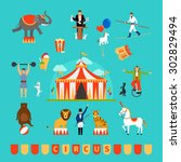 circus and fun fair elements in ... | Shutterstock . vector #302829494